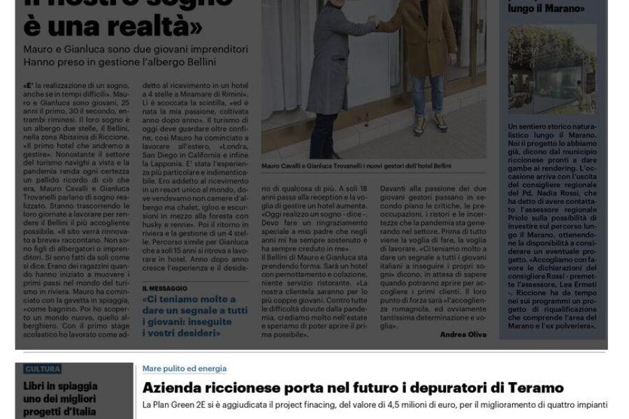 Azienda riccionese porta nel futuro i depuratori di Teramo – Il Resto del Carlino – Marzo 2021