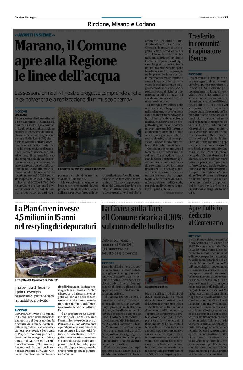 PlanGreen intervista sul Corriere Romagna Marzo 2021